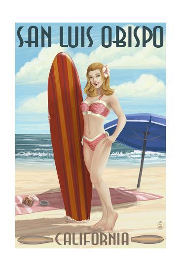 San Luis Obispo, California - Surfer Pinup Girl-Lantern Press-Art Print
