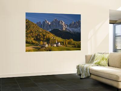 San Maddalena Church in Val Di Funes, with Peaks of Parco Naturale Puez-Odle in Background-Glenn Van Der Knijff-Wall Mural