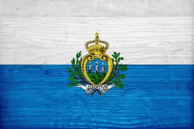 San Marino Flag Design with Wood Patterning - Flags of the World Series-Philippe Hugonnard-Art Print