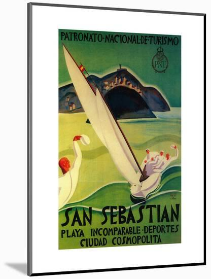 San Sebastian Vintage Poster - Europe-Lantern Press-Mounted Art Print