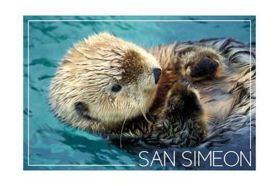 San Simeon, CA - Sea Otter-Lantern Press-Art Print