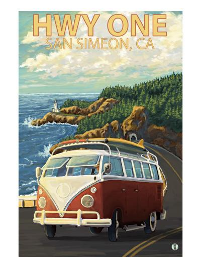 San Simeon, CA - VW Van Coastal Drive-Lantern Press-Art Print