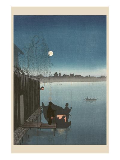 Sanbashi Bridge in Fukugawa at Night.--Art Print