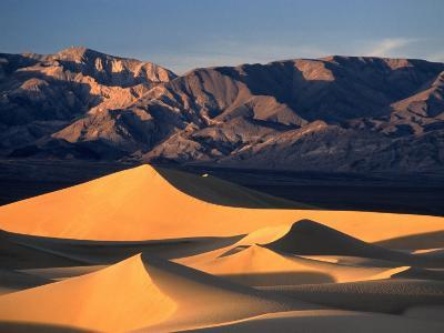 Sand Dunes and Mountain Range, Death Valley National Park, California, USA-Mark Newman-Photographic Print