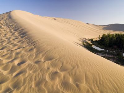 Sand Dunes and Oasis, Desert, Dunhuang, Gansu, China-Porteous Rod-Photographic Print