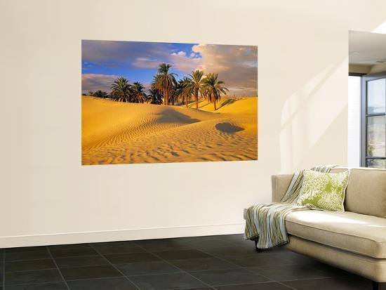 Sand Dunes and Oasis, Desert, Tunisia-Peter Adams-Giant Art Print