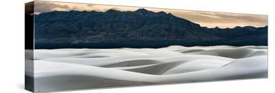 Sand Dunes in White Sands, Albuquerque New Mexico at sunset with mountains in the background-David Chang-Stretched Canvas Print