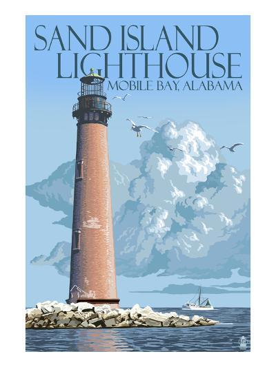 Sand Island Lighthouse - Mobile Bay, Alabama-Lantern Press-Art Print