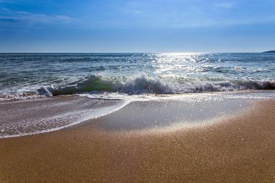 Sand Sea Beach and Blue Sky after Sunrise and Splash of Seawater with Sea Foam and Waves-fototo-Photographic Print