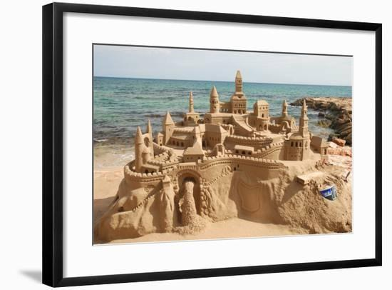 Sandcastle on the Beach-p.lange-Framed Art Print