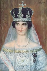 Coronation Portrait of Zita de Bourbon-Parme as Queen of Hungary, 1917 by Sandor Endrey