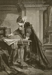 Queen Elizabeth Signing the Death Warrant of Mary Queen of Scots, Engraved by C. Butterworth by Sandor Liezen-Meyer