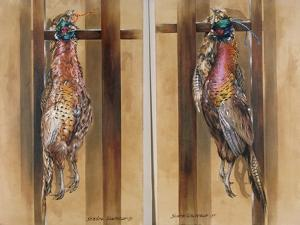A Pair of Hanging Pheasants 1 & 2, 1985 by Sandra Lawrence
