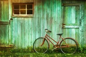 Digital Painting Of Old Bicycle Against Barn by Sandralise