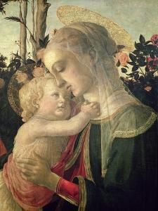 Madonna and Child with St. John the Baptist, Detail of the Madonna and Child by Sandro Botticelli
