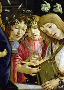 Madonna and Child with the Young St. John the Baptist and Angels: Detail Showing Three Angels by Sandro Botticelli