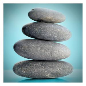 Stacking Stones 2 Teal by Sandro De Carvalho