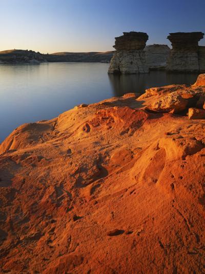 Sandstone at sunset, Rocktown Natural Area, Wilson Lake, Kansas, USA-Charles Gurche-Photographic Print