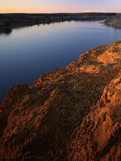 Sandstone bluff at sunset along Kanopolis Lake, Kanopolis State Park, Kansas, USA-Charles Gurche-Photographic Print