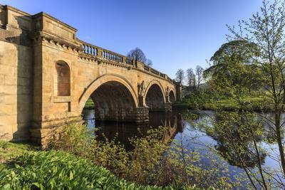 Sandstone Bridge by Paine over River Derwent on a Spring Morning, Chatsworth Estate-Eleanor Scriven-Photographic Print