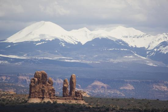 Sandstone Formations and Snowcapped Mountains-DLILLC-Photographic Print