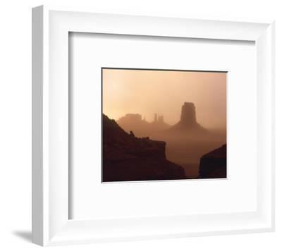Sandstorm enshrouding mittens, Monument Valley, Arizona-Tim Fitzharris-Framed Art Print