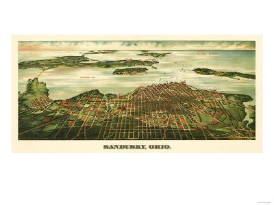 Sandusky, Ohio - Panoramic Map-Lantern Press-Art Print