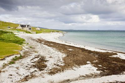 Sandy Beach and Croft on Berneray (Bearnaraigh)--Photographic Print