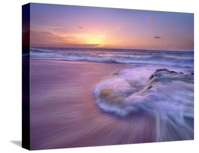 Sandy beach at sunset, Oahu, Hawaii-Tim Fitzharris-Stretched Canvas Print