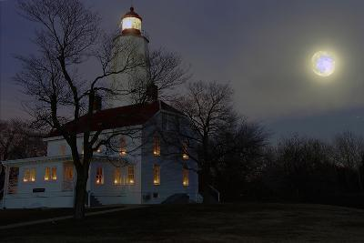 Sandy Hook Lighthouse With Full Moon-George Oze-Photographic Print