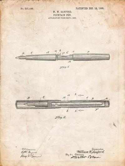 Sanford Fountain Pen 1905 Patent-Cole Borders-Art Print
