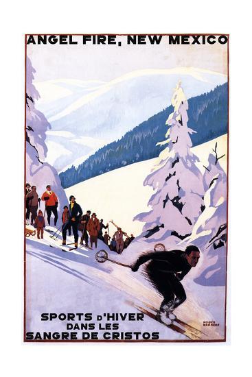 Sangre de Cristos, New Mexico - Spectators Watching Skier - Artwork-Lantern Press-Art Print