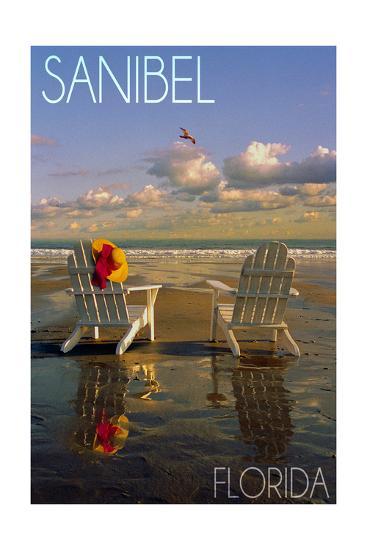 Sanibel, Florida - Adirondack Chairs on the Beach-Lantern Press-Art Print