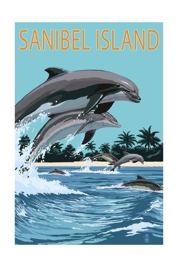 Sanibel Island, Florida - Dolphins Jumping-Lantern Press-Art Print