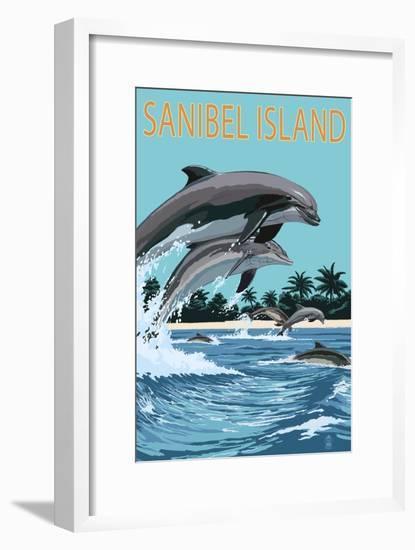 Sanibel Island, Florida - Dolphins Jumping-Lantern Press-Framed Art Print