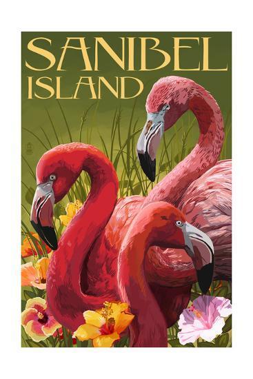 Sanibel Island, Florida - Flamingos-Lantern Press-Art Print
