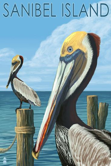 Sanibel Island, Florida - Pelican-Lantern Press-Art Print