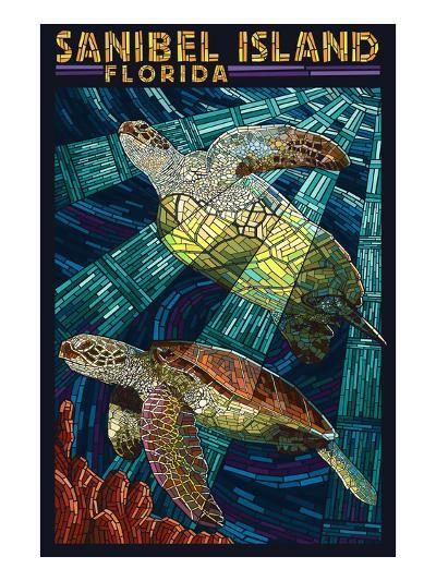 Sanibel Island, Florida - Sea Turtle Paper Mosaic-Lantern Press-Art Print