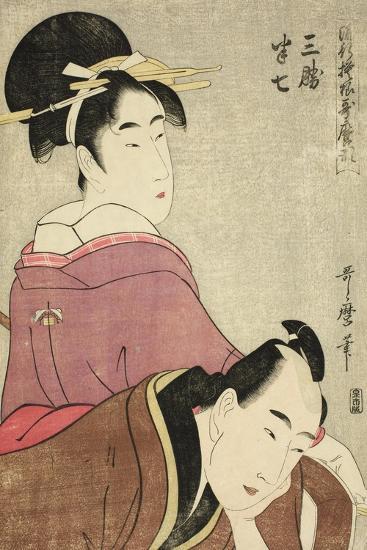 Sankatsu and Hanshichi, from the Series Fashionable Patterns in Utamaro Style, C.1798-99-Kitagawa Utamaro-Giclee Print