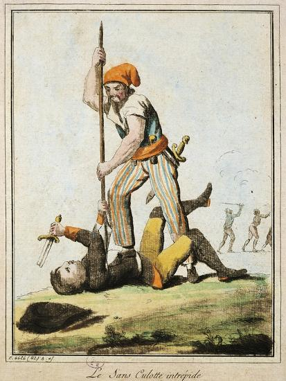 Sans-Culotte Killing One of King's Guards, French Revolution, France--Giclee Print