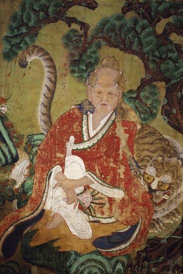 Sansin, Spirit of the Mountain, Colours on Silk--Giclee Print