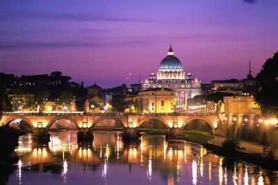 Sant'Angelo Bridge over Tiber River-Dennis Degnan-Giant Art Print