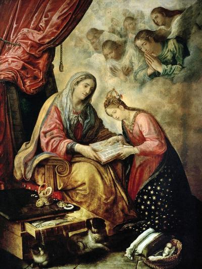 Santa Ana Enseñando a Leer a La Virgen-Juan De Las Roelas-Giclee Print