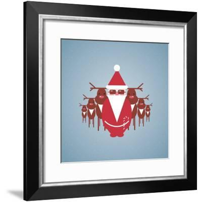 Santa and His Reindeer Gang Illustration. Vector Eps10 Graphic Illustration of Santa and Reindeer.-Popmarleo-Framed Premium Giclee Print