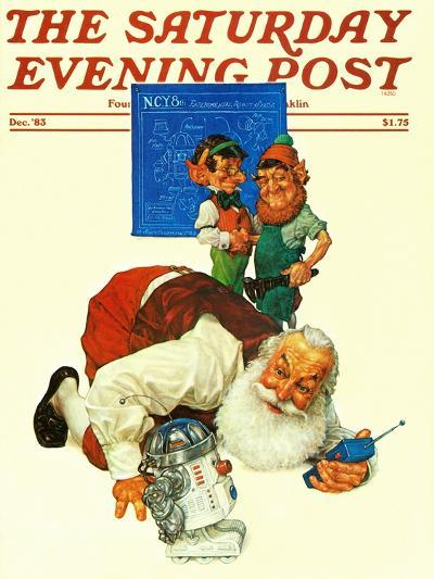 """""""Santa and the Robot,"""" Saturday Evening Post Cover, December 1, 1983-Scott Gustafson-Giclee Print"""