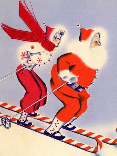 Santa and Woman Together on Candy Cane Skis, National Museum of American History, Archives Center--Art Print