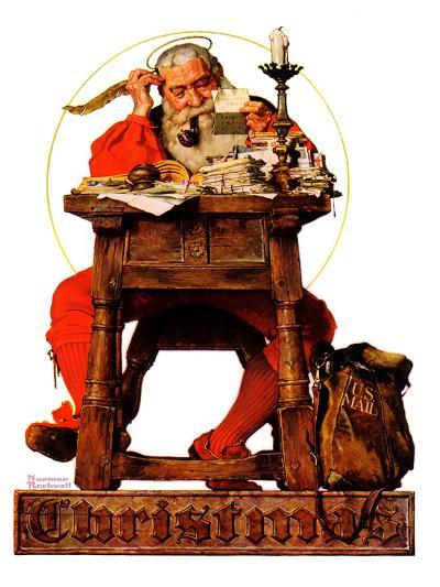 """Santa at His Desk"", December 21,1935-Norman Rockwell-Giclee Print"