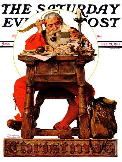 """Santa at His Desk"" Saturday Evening Post Cover, December 21,1935-Norman Rockwell-Giclee Print"