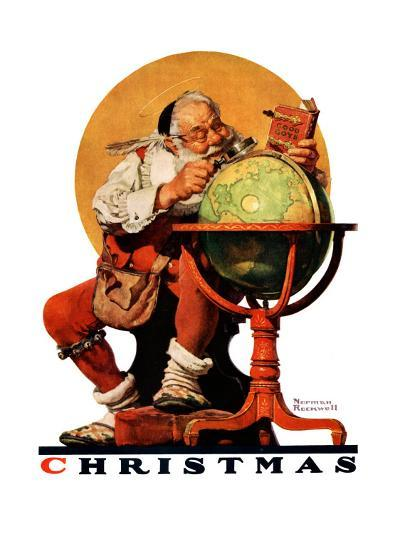 """Santa at the Globe"", December 4,1926-Norman Rockwell-Giclee Print"