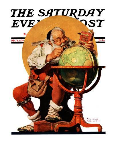 """""""Santa at the Globe"""" Saturday Evening Post Cover, December 4,1926-Norman Rockwell-Giclee Print"""